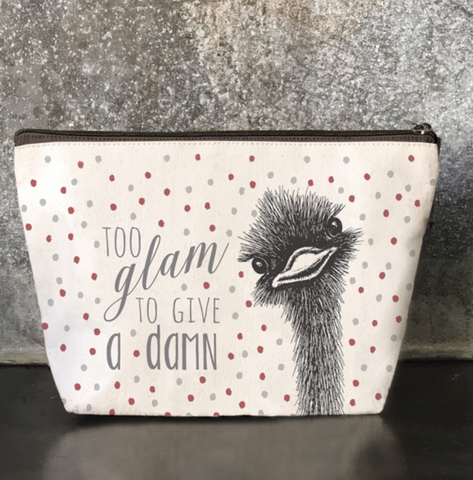 "East of India ""Too Glam To Give A Damn""  Cosmetic Purse"