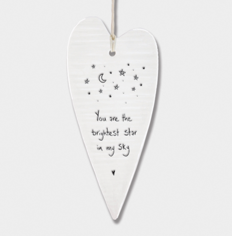 "East of India Porcelain Long Hanging Heart - ""You are the brightest star in my sky"""
