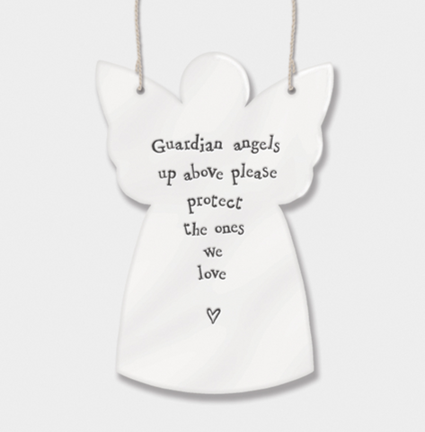 "East of India Porcelain Hanging Angel - ""Guardian angel up above, please protect the ones we love""...."""