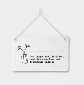 "East of India Porcelain Hanging Sign -""Our laughs are limitless....."""