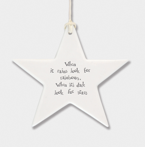 East of India Porcelain Hanging Star - When It Rains Look For Rainbows....
