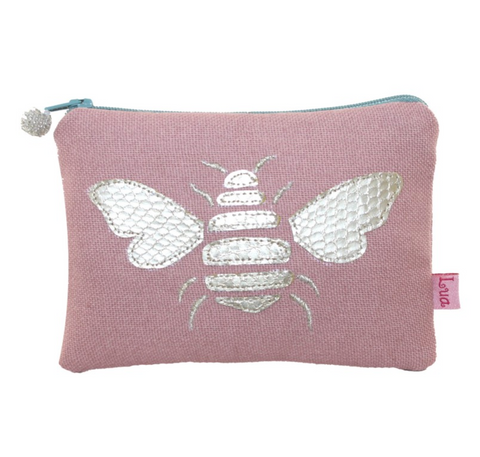 Gold Bee Coin Purse - Dusky Pink