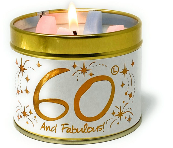 Lily Flame Happy 60th Birthday Candle Tin