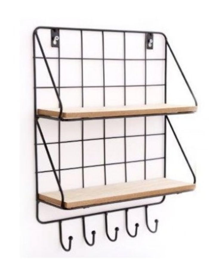 Black Metal and Wood Shelves with Hooks
