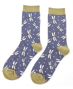 Miss Sparrow Bamboo Ladies Socks - Dragonflies Navy