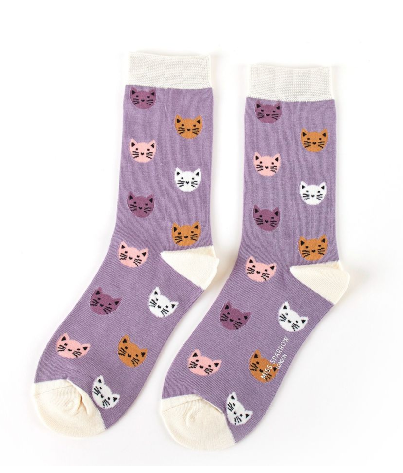 Miss Sparrow Bamboo Ladies Socks - Cat Faces Lavender