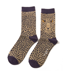 Miss Sparrow Bamboo Ladies Socks - Leopard Olive