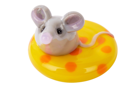 Glass Mouse on Cheese