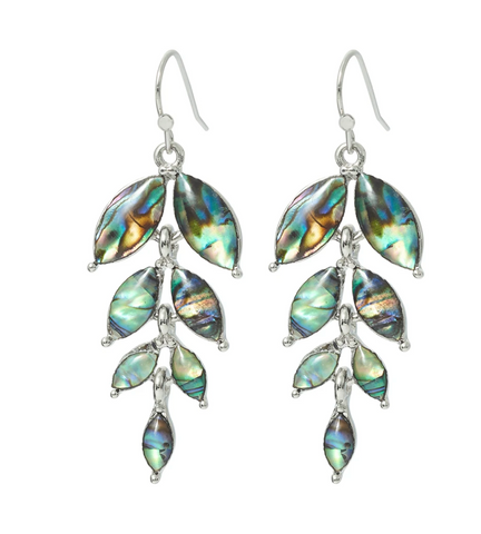 Byzantium Paua Willow Leaf Earrings P403