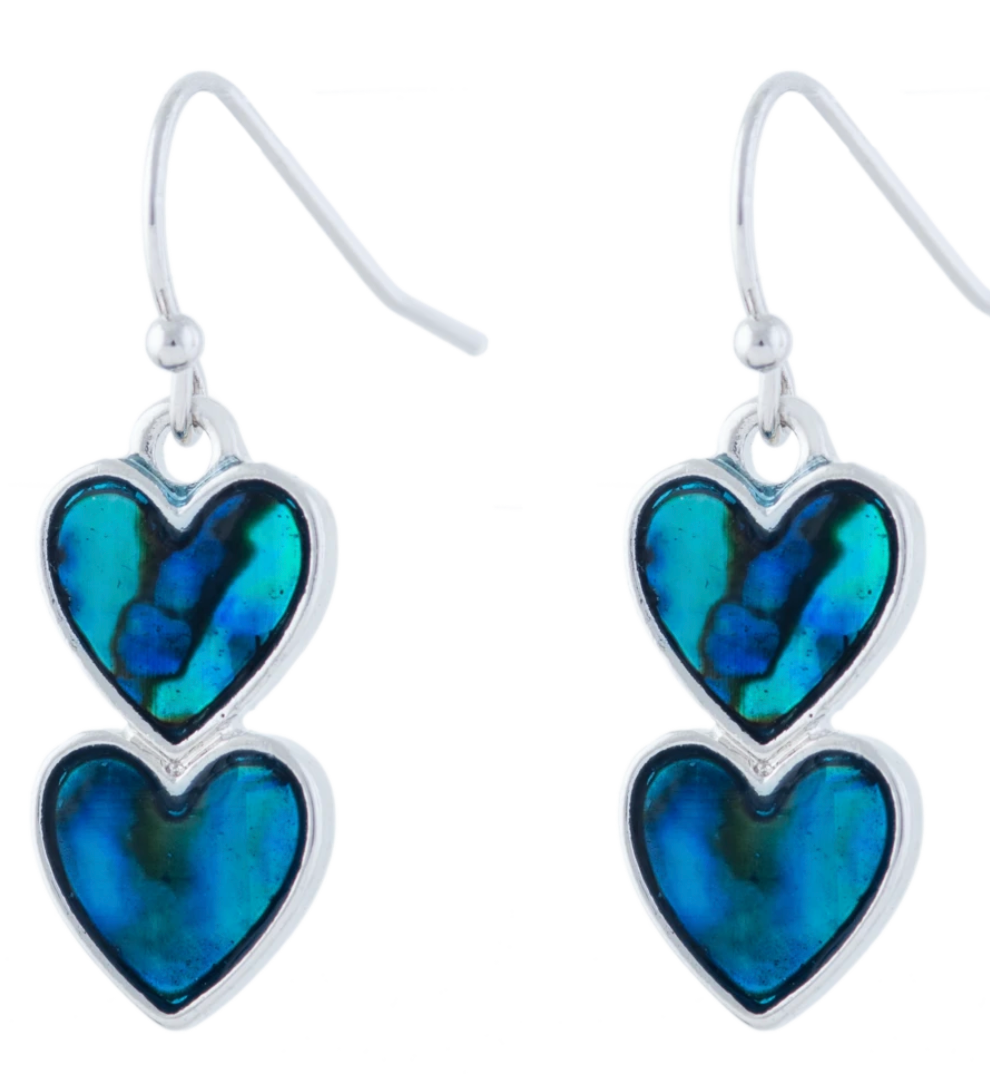 Byzantium Paua Double Heart Earrings P432