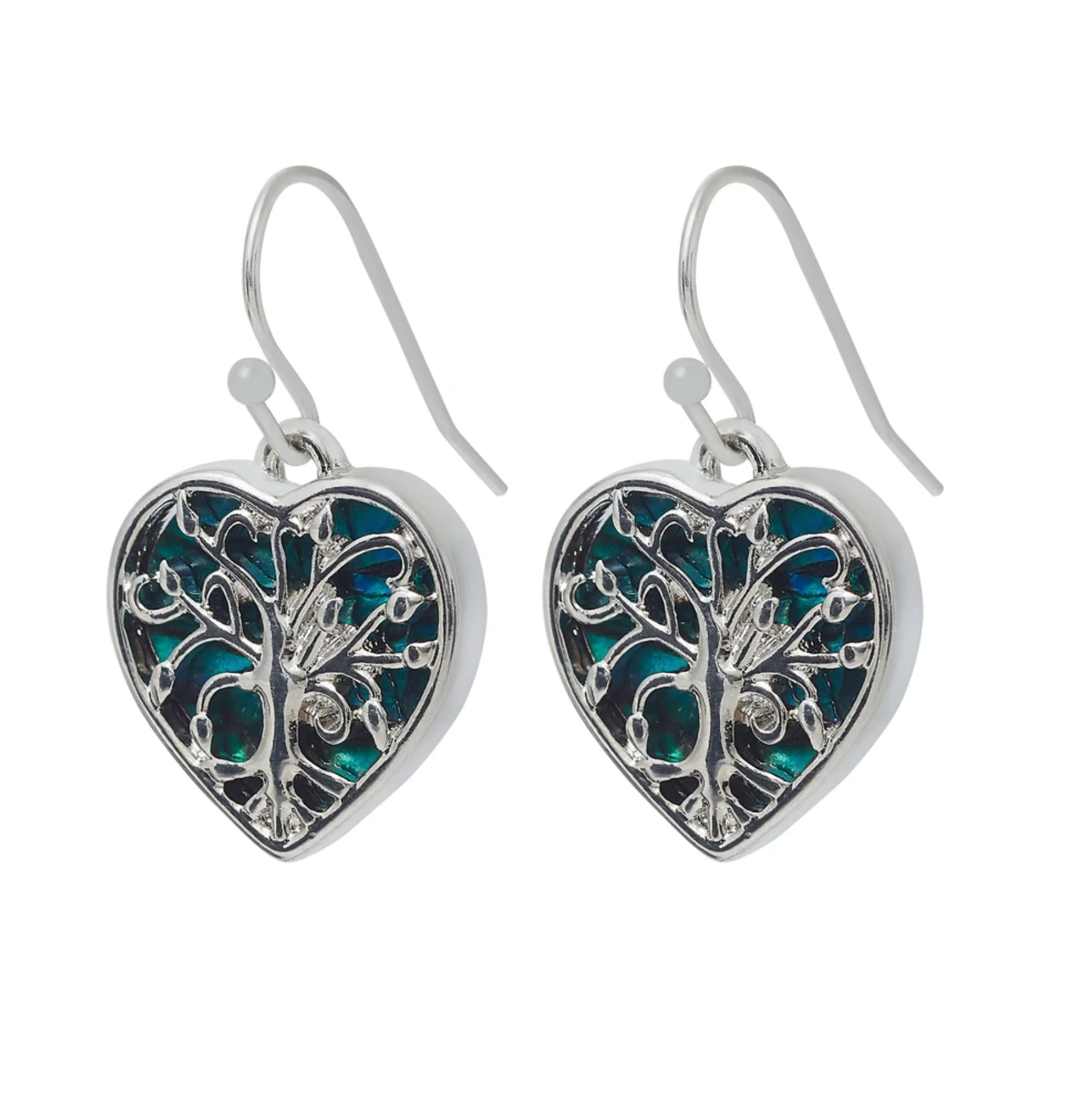 Byzantium Paua Tree Of Life Heart Earrings P385