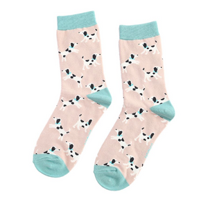 Miss Sparrow Bamboo Ladies Socks - Little Dalmations Dusky Pink