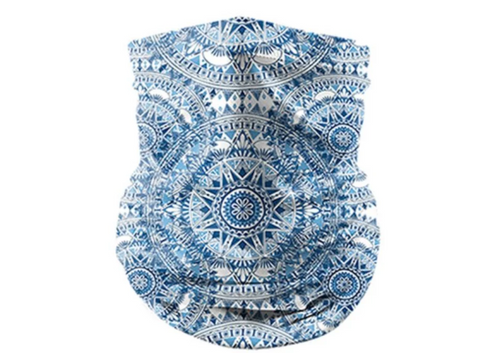 Reusable Face Bandana Face Mask - Blue Aztec
