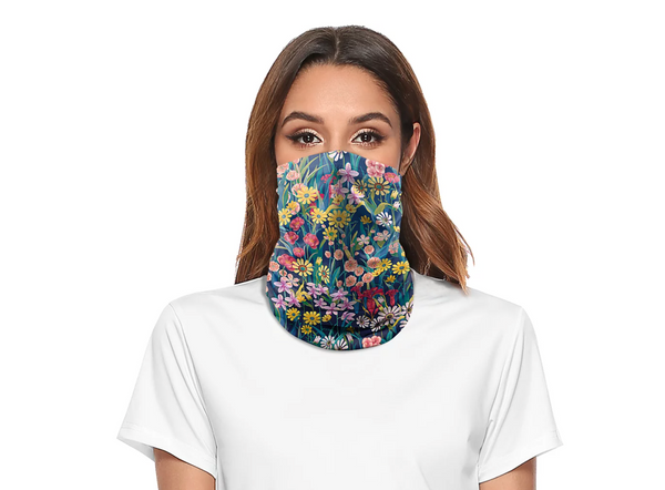 Reusable Face Bandana Face Mask - Meadow Flowers
