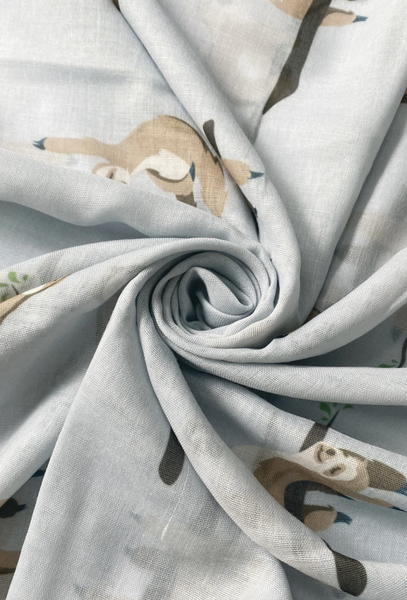Cute Sloth Print Scarf - Grey