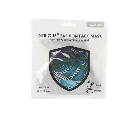 Adult Face Mask - Green Palm Leaves with filter pocket & 2 filters