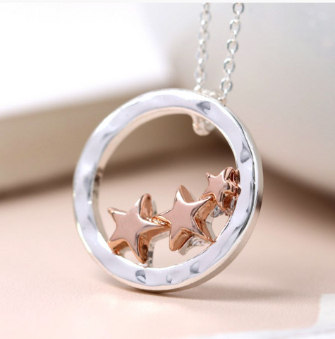 Peace of Mind Silver Plated Triple Rose Gold Stars Necklace