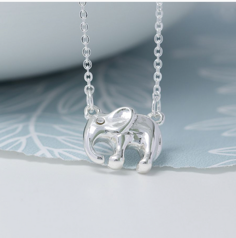 Peace of Mind Silver Plated Elephant Necklace