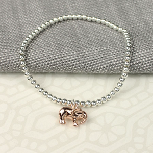 Peace of Mind Silver Plated Elasticated Elephant Bracelet