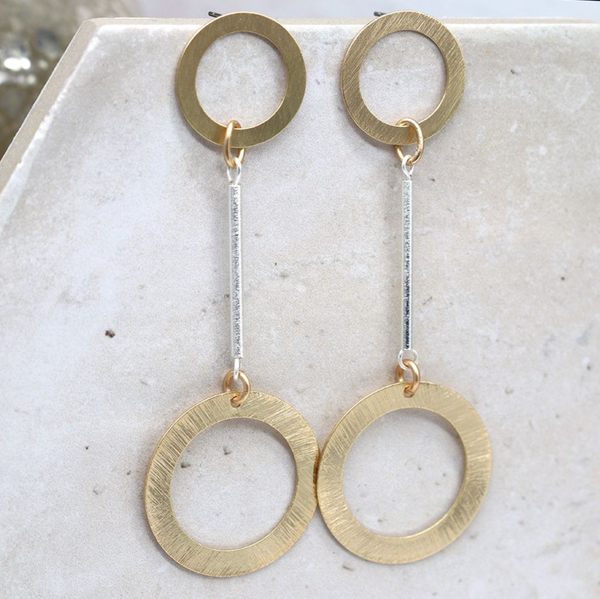 Peace of Mind Silver Plated Golden Circles Earrings