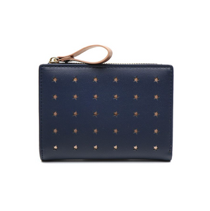 Compact navy faux leather and rose gold star purse