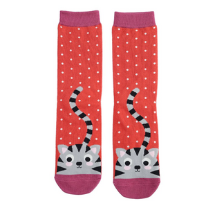Miss Sparrow Bamboo Ladies Socks - Kitty & Spots Burnt Orange