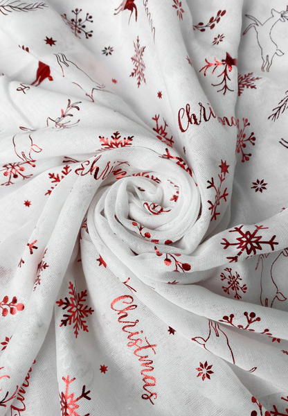 Christmas Print Scarf Red Foil