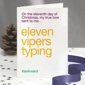 Wordplay Christmas Card - Days of Christmas 'Eleven Pipers Piping'
