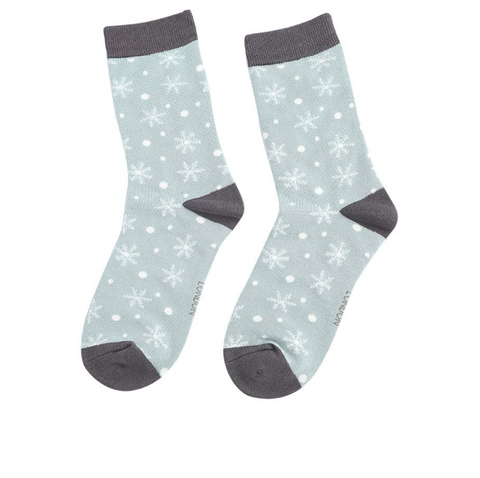 Miss Sparrow Bamboo Ladies Socks - Christmas Snowflakes Duck Egg