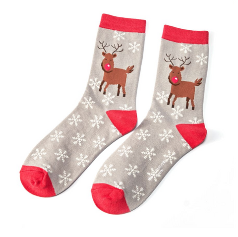 Miss Sparrow Bamboo Ladies Socks - Christmas Rudolph Grey
