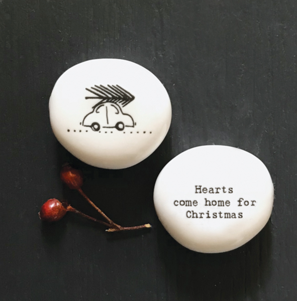 East of India Porcelain Christmas Pebble - Hearts Come Home For Christmas