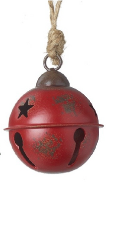 Red Rustic Metal Bell Hanging Decoration - Small