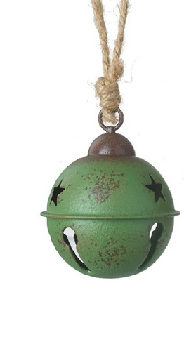 Green Rustic Metal Bell Hanging Decoration - Small