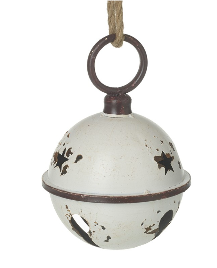 Cream Rustic Metal Bell Hanging Decoration - Large
