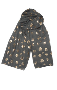 Rose Gold Paw Print Scarf - Charcoal