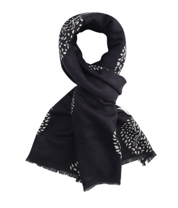 Mulberry Trees Reversible Winter Scarf - Black/White