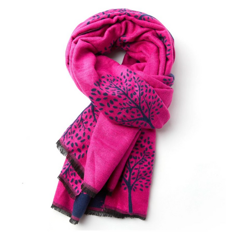 Mulberry Trees Reversible Winter Scarf - Pink/Navy
