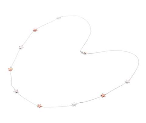 Adjustable Tiny Stars Necklace - SIlver & Rose Gold colour