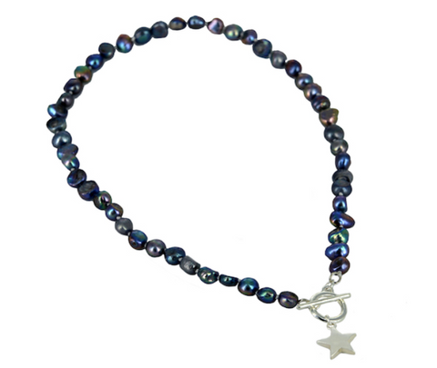Freshwater Pearls Star Charm Necklace - Navy