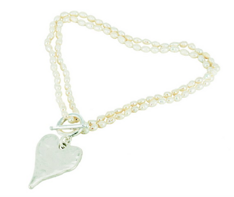 Freshwater Pearls Heart Charm Necklace