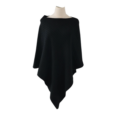 Cable Knitted Winter Wrap - Black