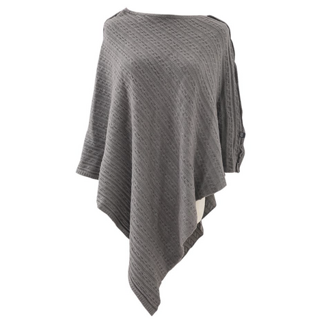 Cable Knitted Winter Wrap - Grey