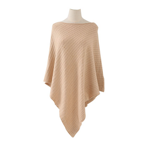 Cable Knitted Winter Wrap - Camel