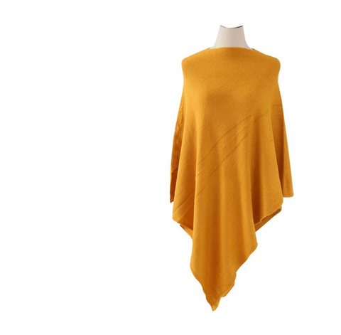 Plain Knitted Winter Wrap - Mustard