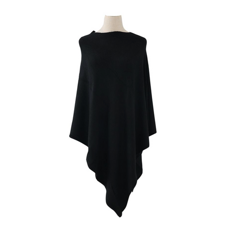 Plain Knitted Winter Wrap - Black