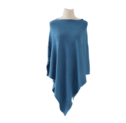 Plain Knitted Winter Wrap - Denim Blue