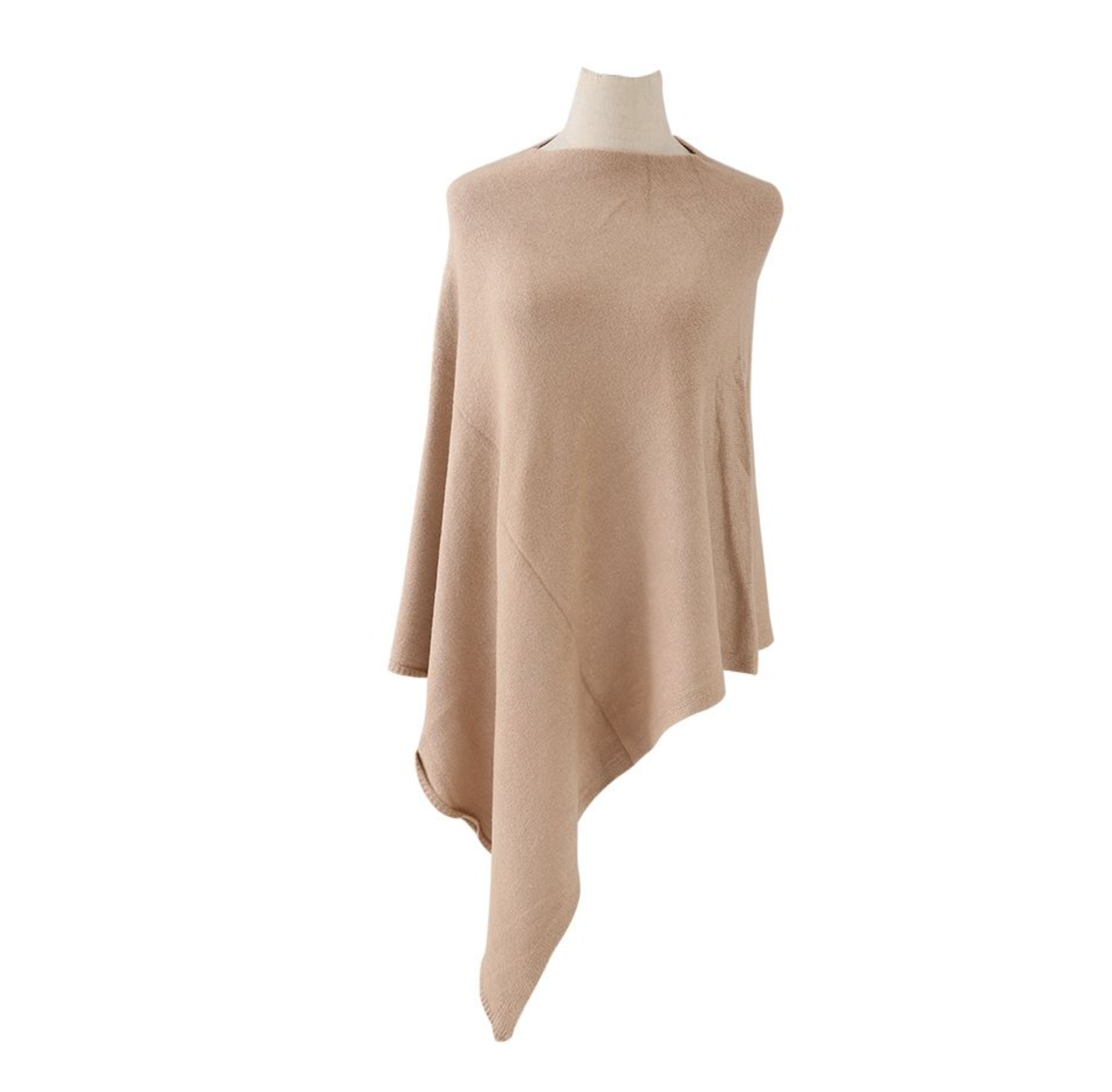 Plain Knitted Winter Wrap - Camel