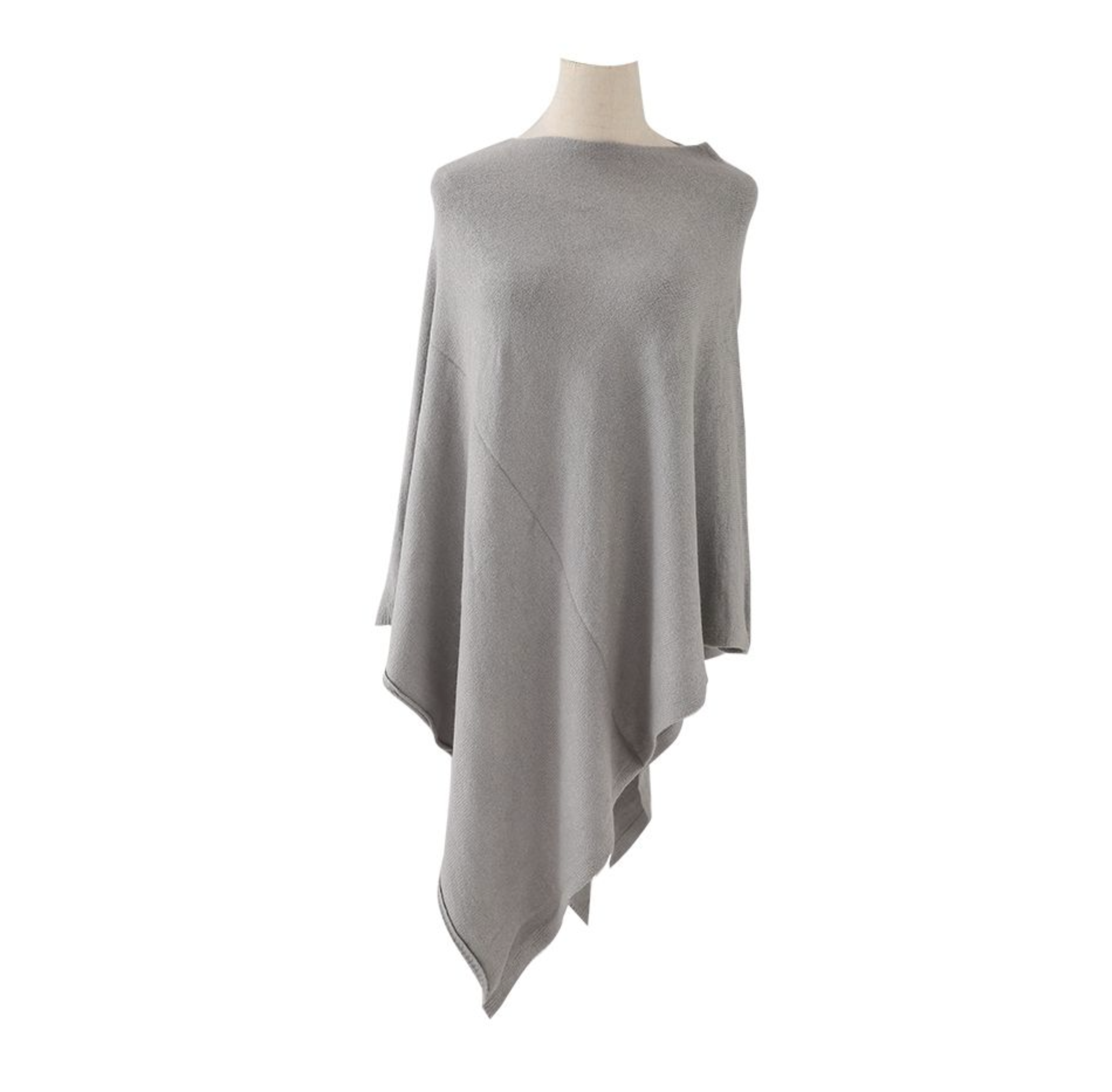 Plain Knitted Winter Wrap - soft grey