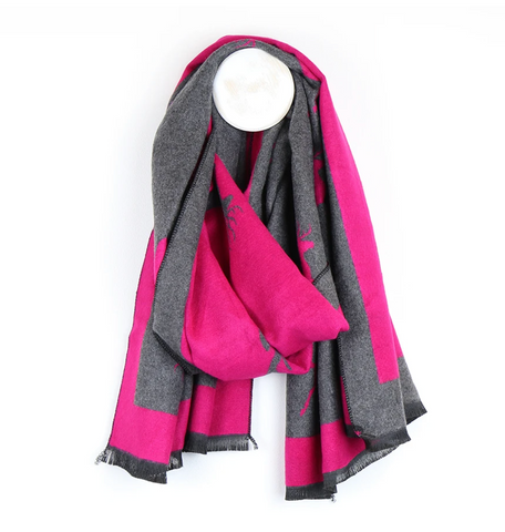 Grey & Pink Stag Reversible Winter Scarf
