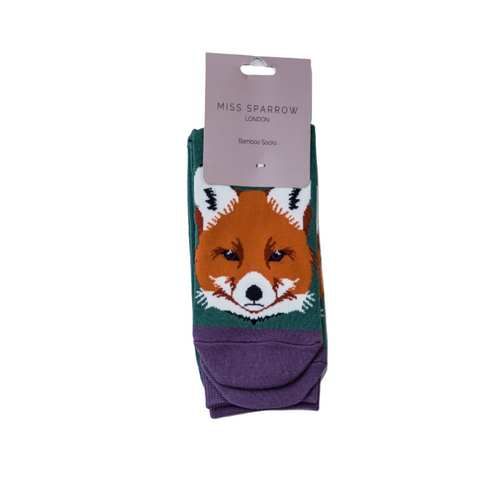 Miss Sparrow Bamboo Ladies Socks - Fox Face Green